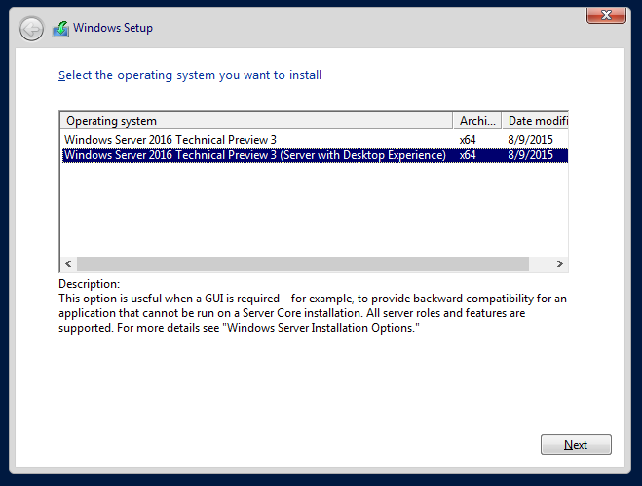 Windows Server TP3 setup
