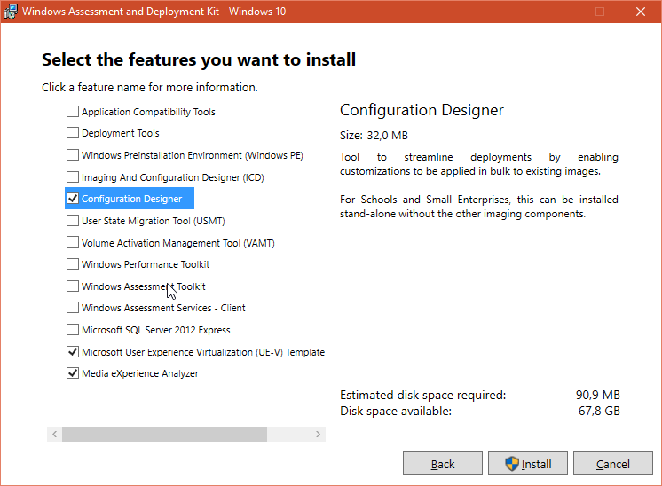 Windows ADK 1607 install components